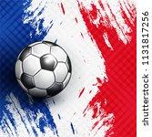 soccer ball on france flag... | Shutterstock .eps vector #1131817256
