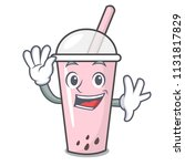 waving raspberry bubble tea... | Shutterstock .eps vector #1131817829