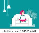 happy freelancer girl glasses...   Shutterstock .eps vector #1131819470