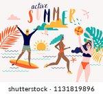 summer vector beach... | Shutterstock .eps vector #1131819896