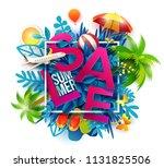 summer sale banner with paper... | Shutterstock . vector #1131825506