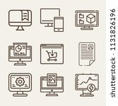 set of 9 monitor outline icons... | Shutterstock . vector #1131826196