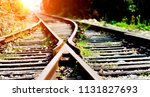 two railway tracks merge... | Shutterstock . vector #1131827693