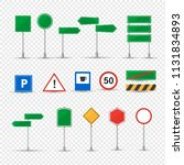 big set different road signs.... | Shutterstock .eps vector #1131834893