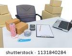desks and office equipment ...   Shutterstock . vector #1131840284