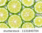 sliced bergamot on white...   Shutterstock . vector #1131840704