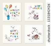 set of hand drawn ink and... | Shutterstock .eps vector #1131842426