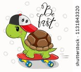 cute turtle with a rad cap and... | Shutterstock .eps vector #1131843320