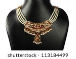 Indian Gold Pearl Necklace
