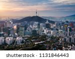 sunrise scene of seoul downtown ... | Shutterstock . vector #1131846443