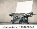 retro aged black typewriter...   Shutterstock . vector #1131850043