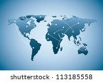 blue map with shadow over blue... | Shutterstock .eps vector #113185558