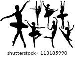 Ballet Female Dancers Vector...