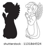 praying angel. silhouette and... | Shutterstock .eps vector #1131864524