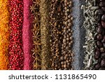 spices and herbs background for ... | Shutterstock . vector #1131865490