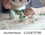 sponge cupcake with blue and... | Shutterstock . vector #1131875780