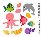 marine life vector collection... | Shutterstock .eps vector #1131878489