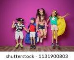 playful little children in cute ... | Shutterstock . vector #1131900803