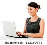 Business woman working online on a laptop - isolated over white - stock photo