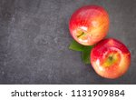 fresh apples on gray background ... | Shutterstock . vector #1131909884