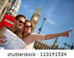 couple of tourists in london... | Shutterstock . vector #113191534