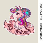 cute magical unicorn  sweet... | Shutterstock .eps vector #1131920159