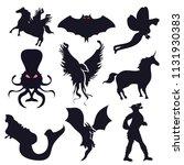 fantastic black silhouette... | Shutterstock .eps vector #1131930383