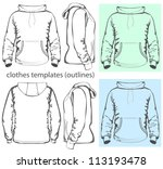 Vector. Men's hooded sweatshirt with pocket (back, front and side views). Outlines
