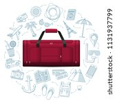 travel duffle luggage bag with... | Shutterstock . vector #1131937799