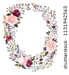hand drawn watercolor floral... | Shutterstock . vector #1131942563