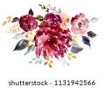 bouquet of beautiful watercolor ... | Shutterstock . vector #1131942566