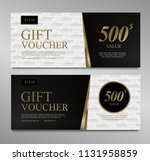 voucher template with gold... | Shutterstock .eps vector #1131958859