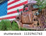 Old Truck And American Flag ...