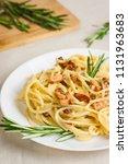 pasta carbonara. spaghetti... | Shutterstock . vector #1131963683