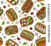 hot dog seamless endless... | Shutterstock .eps vector #1131985919