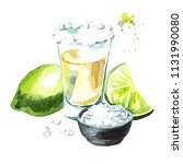 tequila shot with lime and salt.... | Shutterstock . vector #1131990080