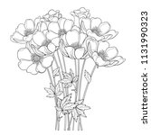 vector hand drawing bouquet... | Shutterstock .eps vector #1131990323