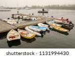 variety of dinghies tied to... | Shutterstock . vector #1131994430