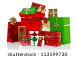 a red christmas sack full of... | Shutterstock . vector #113199730