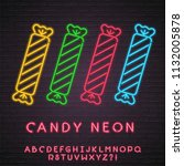 candy set neon light glowing... | Shutterstock .eps vector #1132005878