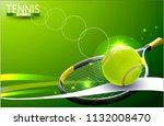 vector tennis ball. a realistic ... | Shutterstock .eps vector #1132008470