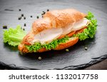 delicious croissants with... | Shutterstock . vector #1132017758