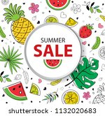 summer fruit sale background | Shutterstock .eps vector #1132020683