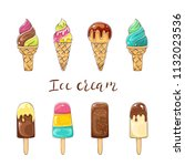 set of colorful ice cream... | Shutterstock . vector #1132023536