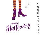 lettering happy halloween with...   Shutterstock . vector #1132023710