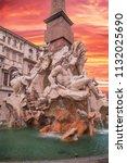 piazza navona fountain of the 4 ... | Shutterstock . vector #1132025690