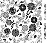 black and white floral pattern... | Shutterstock .eps vector #1132029689