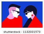 couple in love  two lovers  man ... | Shutterstock .eps vector #1132031573