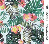 hand drawn tropical flowers... | Shutterstock . vector #1132032080