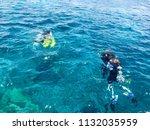 divers in black diving... | Shutterstock . vector #1132035959